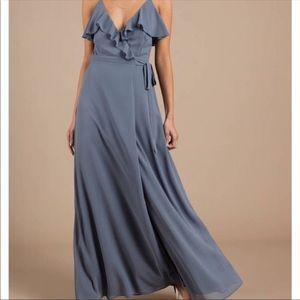 Tobi Steel Blue Wrap Style Bridesmaids Dress